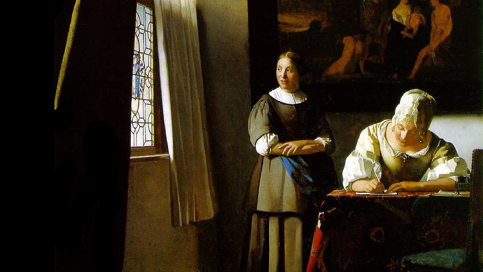 Lady Writing a Letter with her Maid | Johannes Vermeer